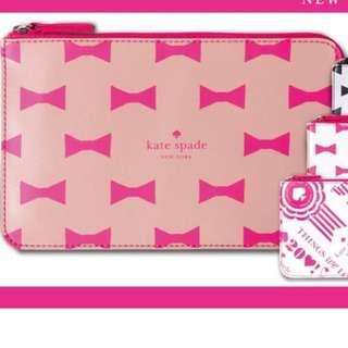 全新 Kate Spade 啡色底 粉紅色蝴蝶結 化妝袋