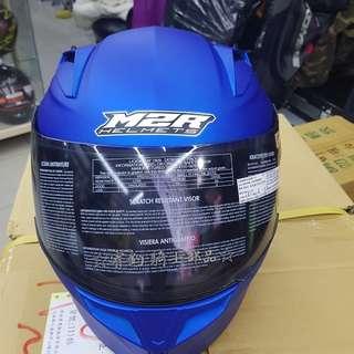 ☆宥鈞騎士部品☆M2R M3 平價 全罩式 新版 流行曲線 通風好 消光寶藍色