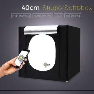 Pxel LB40LED 40cx40cm Studio Soft Box LED Light Tent w Backdrop n Bag