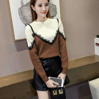 Brown Lace Fake Two Piece Sweater