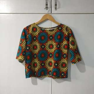 [Shapes] floral cropped blouse