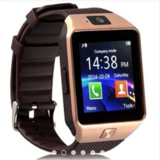 Dz-09/ U8/M8/M9 Smartwatch Heartrate Test Bluetooth Smart Watch Wristwatch with SIM slot and Camera (Gold/Brown)