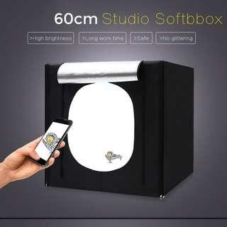 Pxel LB60LED 60cx60cm Studio Soft Box LED Light Tent w Backdrop n Bag