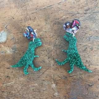 T-Rex earrings by Haus of Dizzy