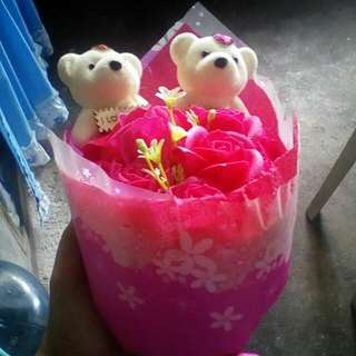 Flower Soap Bouquet with 2 Bears