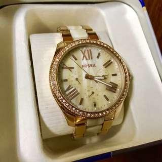 保留❗️FOSSIL 極美經典大理石玫瑰金環鑽石英錶