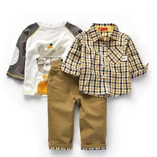 Kid Boys Checkered long sleeves T-shirt Top Khaki Pants 3 pieces Set Children