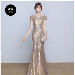 EG0189 Gold Glitter Evening Gown, Prom Dress, DND Dress, ROM Dress