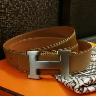 Hermes H字型 Leather Belt