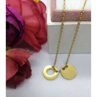 Authentic Bangkok Gold 10k Saudi Gold Chain Necklace & 2 Round Pendant Non Tarnish (Not Pawnable)