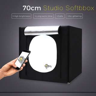Pxel LB70LED 70cx70cm Studio Soft Box LED Light Tent w Backdrop n Bag