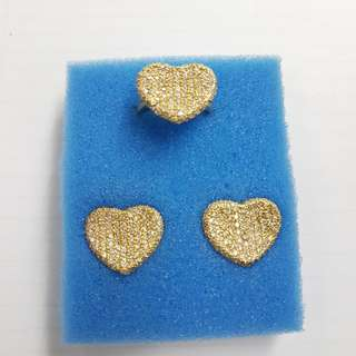 Set yellow gold heart with diamonds (14k)