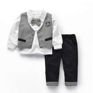Kid Boys Toddler Smart Preppy Gentleman Cotton Blouse Vest Pants 3 pieces set