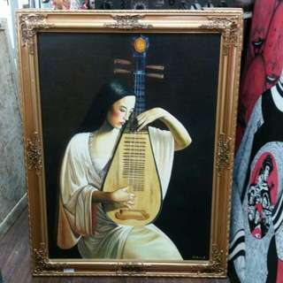 Oil On Canvas painting ' Pipa Shanghai Lady' L72xH92cm By Wu Mao Er