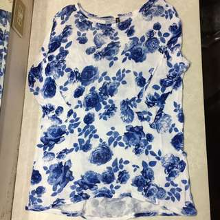 H&M Knitted Floral 3/4 Sleeves Long Top