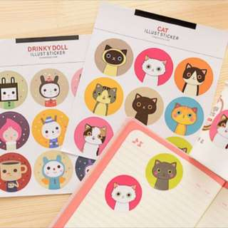 Cat and Drinky Doll Diary Scheduler Sticker