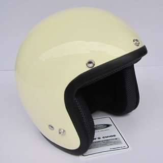 Cream Beige Off White Motorcycle Helmet Open Face Three Button Snap Retro Vintage Vespa Scooter Cafe Racer Motorbike Leather Gloss Old School Harley Davidson