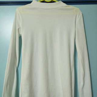 Ribbed WHITE high neck long sleeve shirt