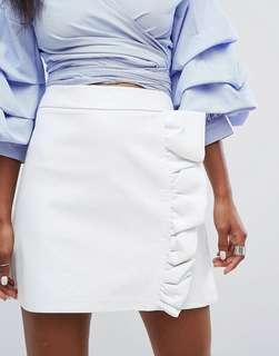 White Skirt Ruffles Leather