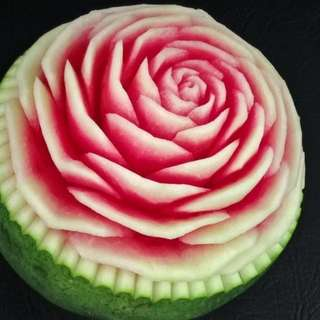 Hand craving watermelon roses - 3 big stalk
