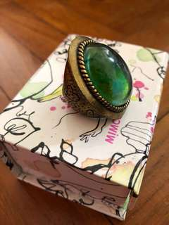 Emerald stone/ Gold engraved costume jewelry ring