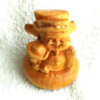 Hand Carved Wood God of Fortune 手工雕刻木的财神爷