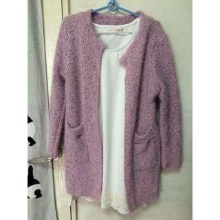 粉紅混色針織外套