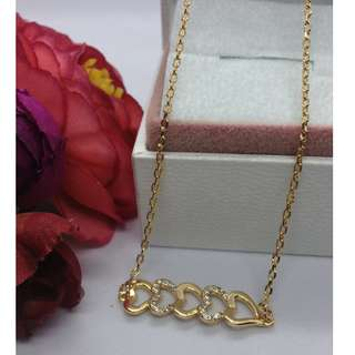Authentic Bangkok Gold 10k Saudi Gold Mini Hearts Centered Chain Necklace with Zirconia Stones Non Tarnish (Not Pawnable)