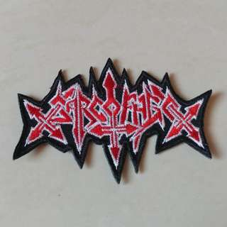 Sarcofago - Logo Shaped Woven Patch Band Merch