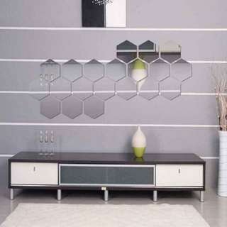 12 pcs Hexagon Wall Mirror Sticker