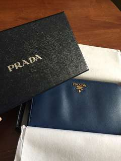Prada Saffiano Leather ZIP Around Wallet (Cornflower Blue)