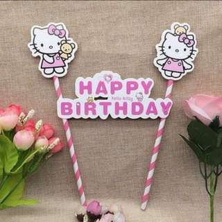 Hello Kitty Happy Birthday Cake Topper