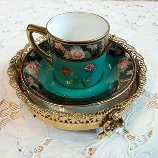 日本皇室御用名瓷NORITAKE百年手繪22K金杯盤組