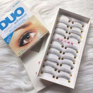 20 PCS. FALSE EYELASHES w FREE EYELASH DUO GLUE