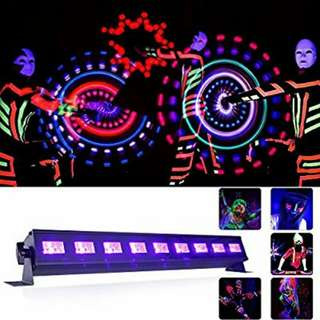 Gledto UV LED Bar Black Light 9LEDx3W 27W Blacklights for Halloween Glow Party, Hotel Club, DJ Blacklight Dorm Party, Black