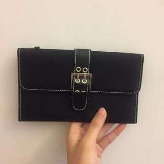 全新 黑色質感 設計皮夾 長夾