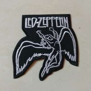 Led Zeppelin - Swan Song Logo Shaped Woven Patch Band Merch