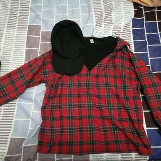ulzzang red flannel shirt