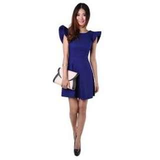 Tashia Flutter Dress in Cobalt Blue