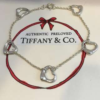Excellent Authentic Tiffany & Co. Elsa Peretti Five 5 Open Hearts Silver Bracelet