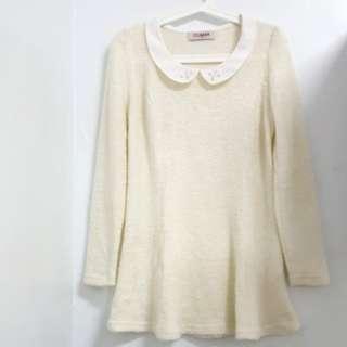 百貨公司裝櫃品牌CUMAR 米白色 縫珠水鑽公主風 修身長版上衣