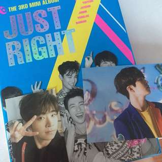GOT7 Just Right Album with Youngjae Photocard and postcard