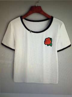 Rose Embroidered Patch T-shirt