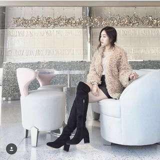 Queenie's韓版爆瘦麂皮膝上靴<黑37>