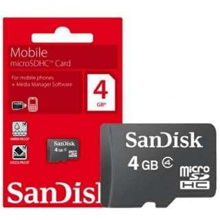 Sandisk 4GB Micro SD Memory Card. Original SG Stock.