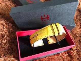 Yellow Crocodile Strap with yellow stitching