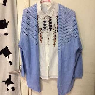 針織粉藍外套