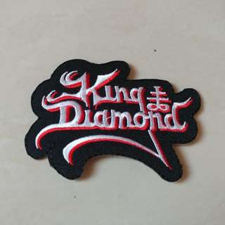King Diamond - Red and White Logo Shaped Woven Patch Band Merch
