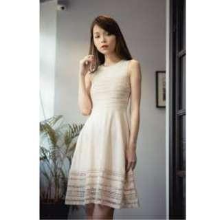 BN Thread Theory Fascination Lattice Dress in Nude Cream