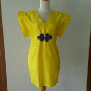 Yellow dress baju pesta kuning